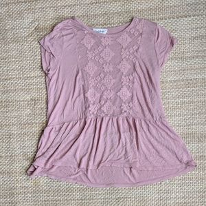 Cloud Chaser Pink Peplum Embroidered Top - Small